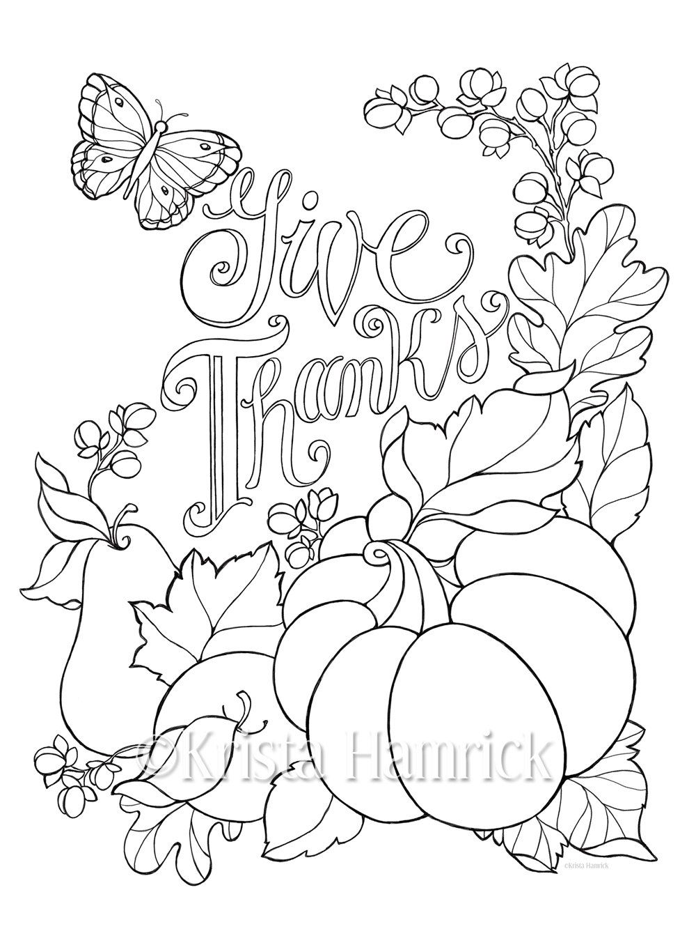 Give Thanks coloring page / Two sizes included: 8.5X11