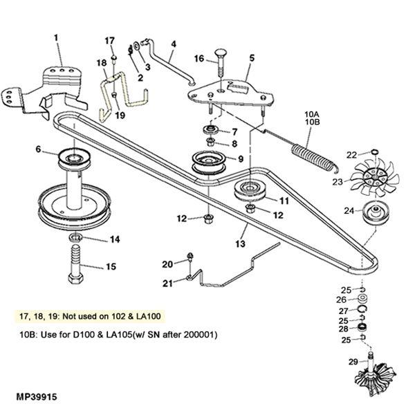 John Deere LA100/D100 Gear Transmission Parts Diagram