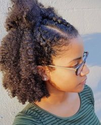 """Wash and Go with three cornroll braids in front. This was"