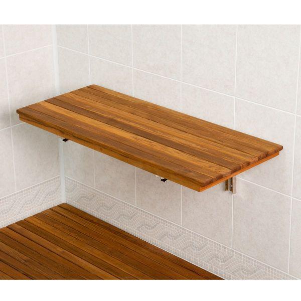 Wall Mount Fold Down Teak Shower Bench Seat