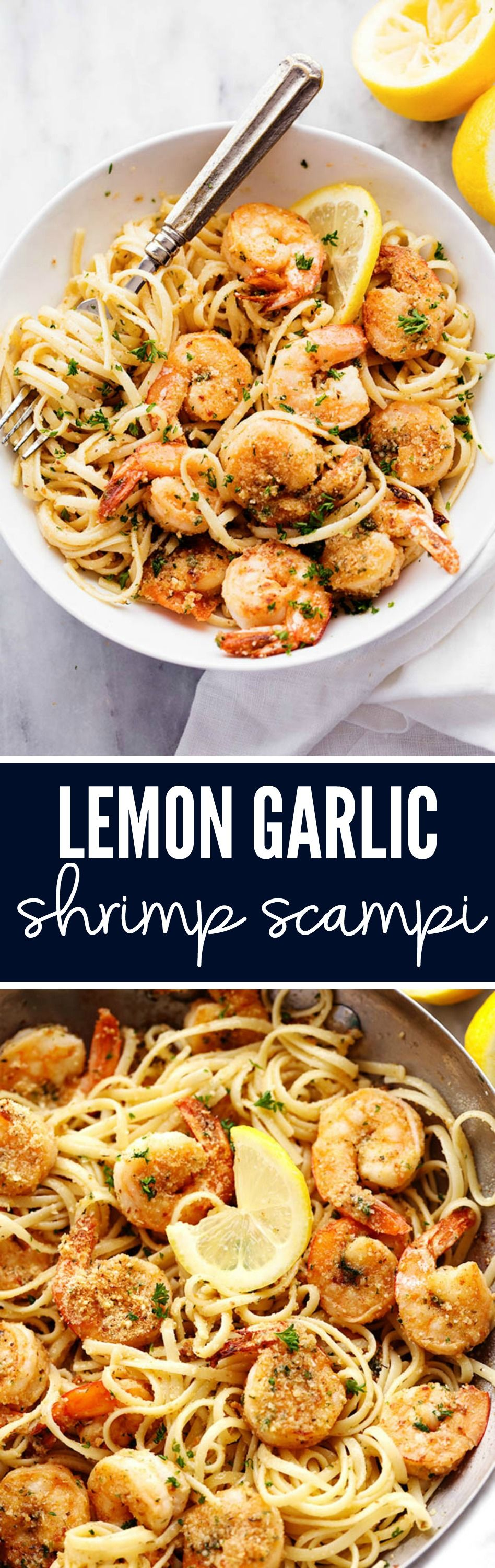 Lemon Garlic Shrimp Scampi is a delicious 30 minutes meal that cooks in a buttery lemon garlic sauce and breaded with a parmesan