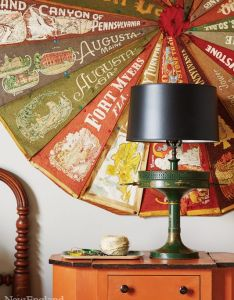 In the children   bedroom  pinwheel made of vintage banners hangs above tole lamp architectural and interior design marisa bistany perkins also rh za pinterest