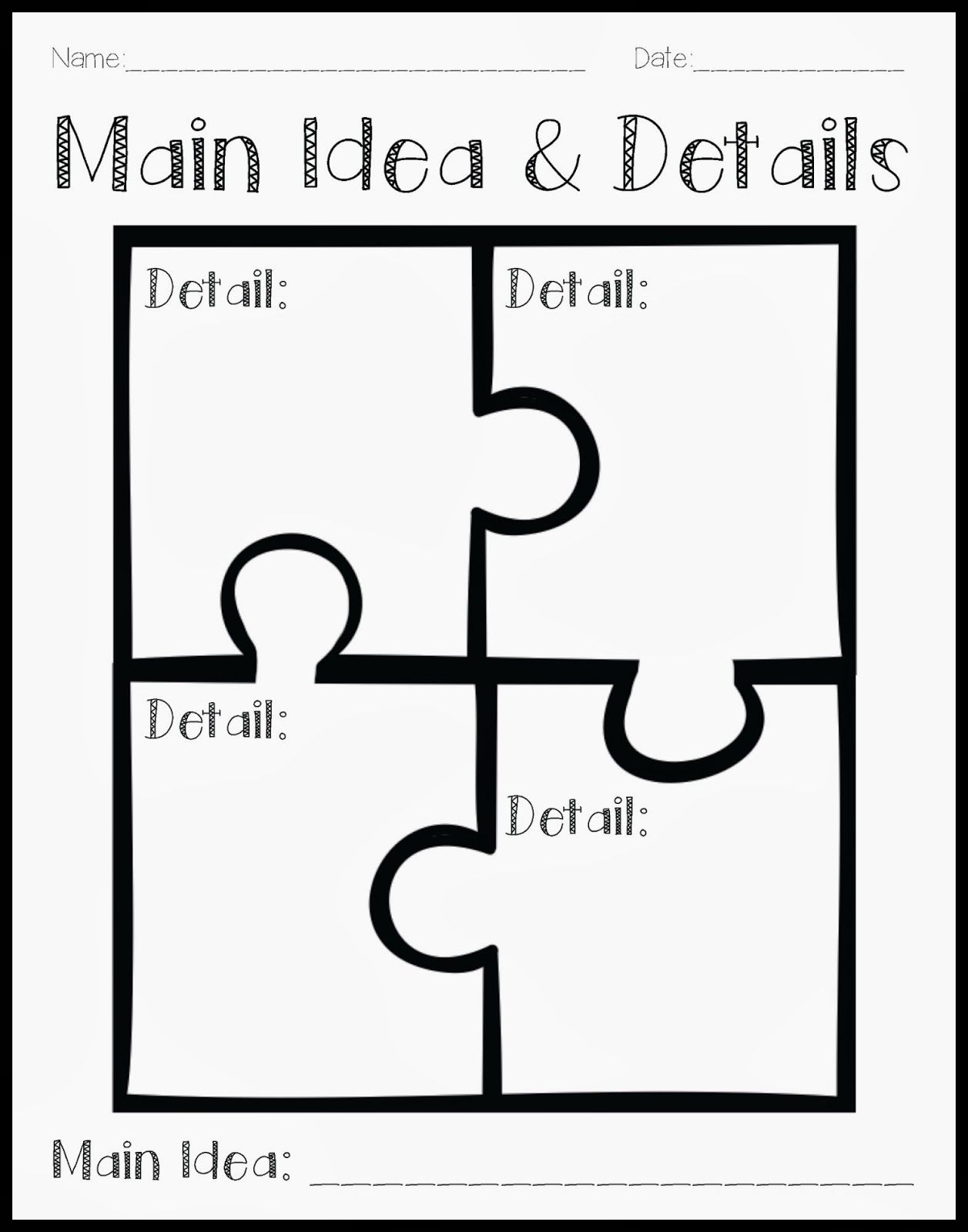 Main Idea Amp Detail Freebie Graphic Organizer