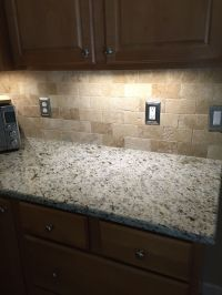 Tumbled travertine backsplash | for the home | Pinterest ...