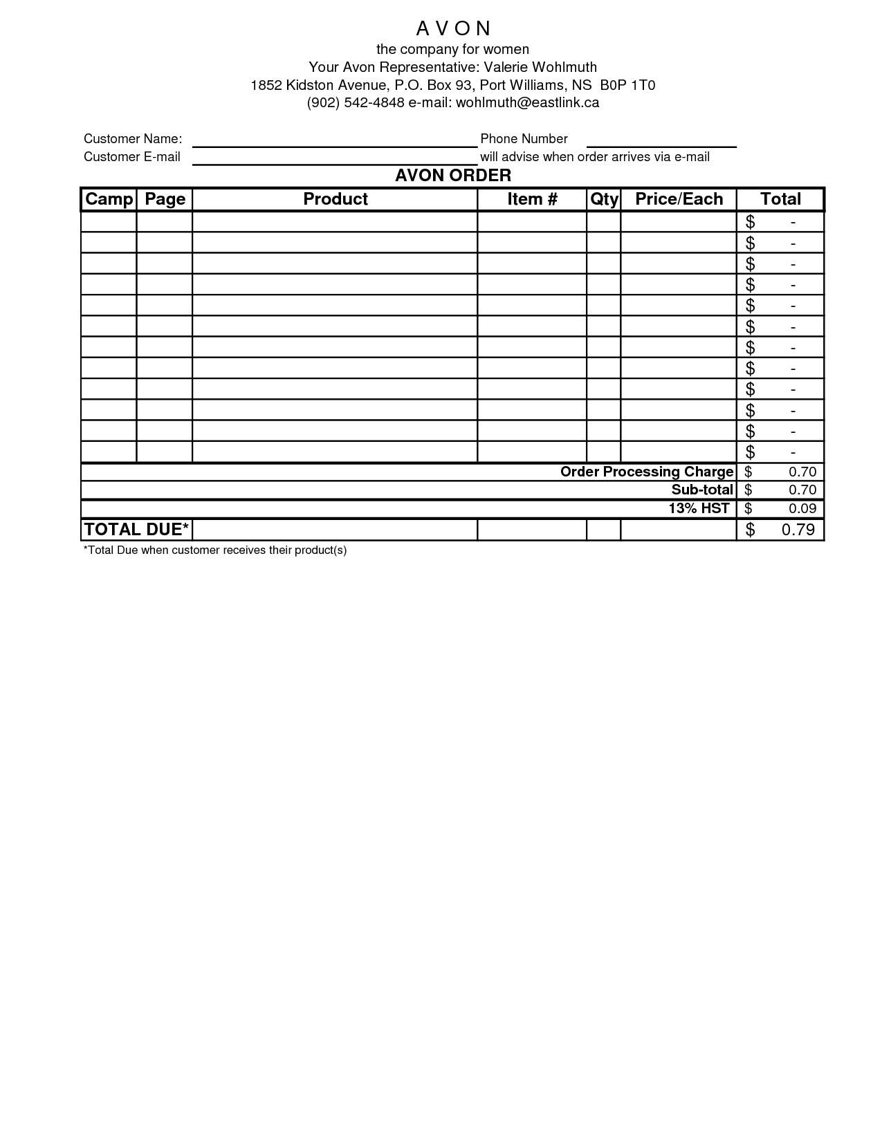 Avon Order Form Excel