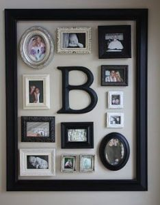 Small frames within one extra large frame fun way to display many things without the feeling of clutter make for each kid also photo collage would be cool child decor ideas rh in pinterest