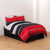 8-PC Complete Bedding Comforter Set Red Black White ...