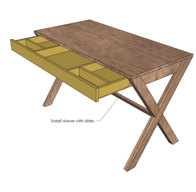 Ana white build a x desk with drawer free and easy diy