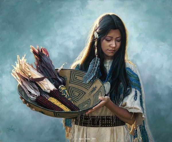 Native American Indian Women . Full Of Corn Basket Painting