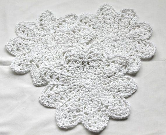 Round Dish Cloth Set of 3 Dishcloth set White by