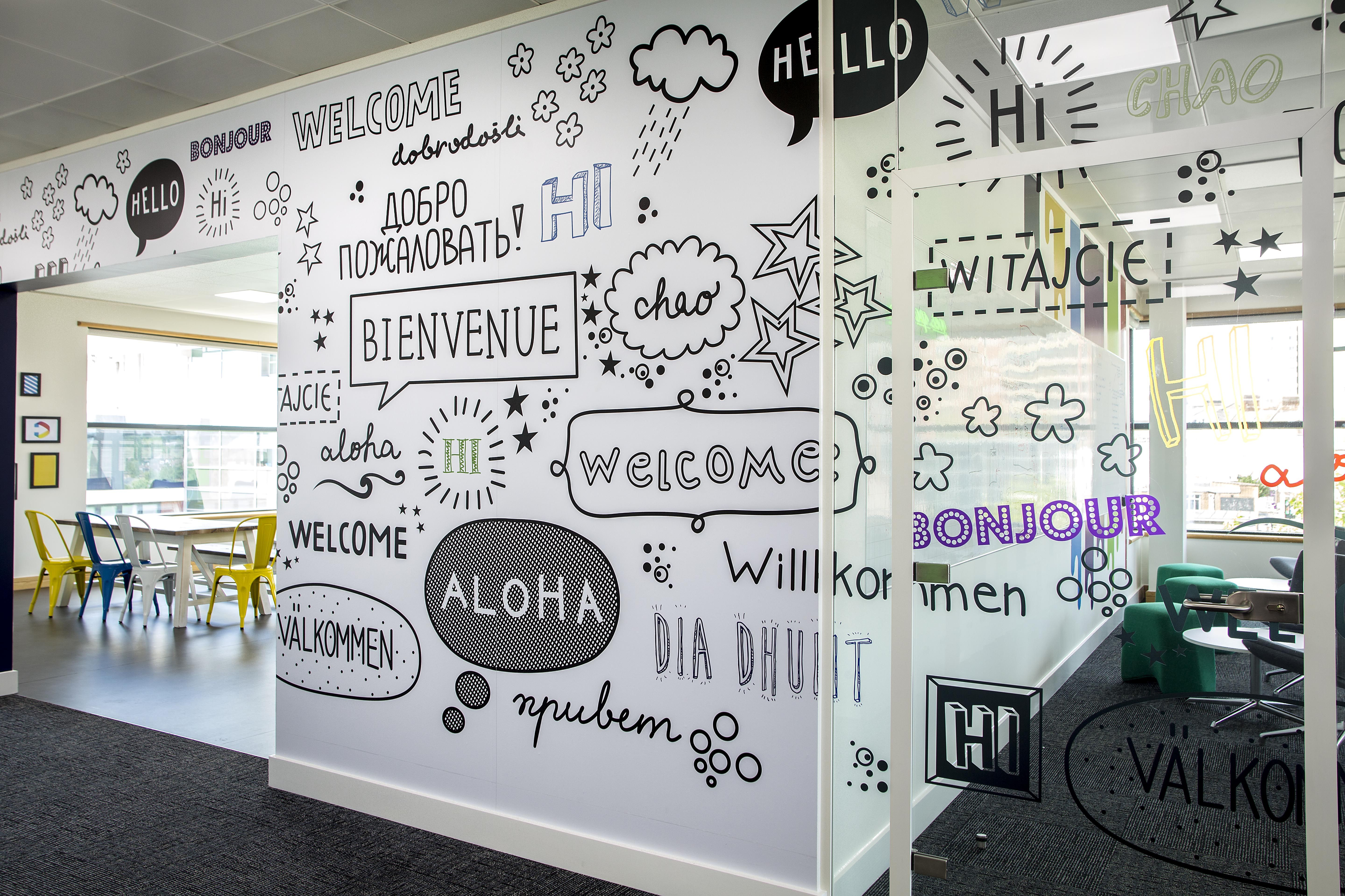 Custom wall graphics for office fit out projects and glass manifestations commercial interior design get  quote at hello also vinylimpression rh pinterest