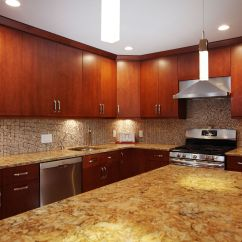 Slab Kitchen Cabinets Ninja Mega System Reviews Cherry Briarwood With A Buckingham