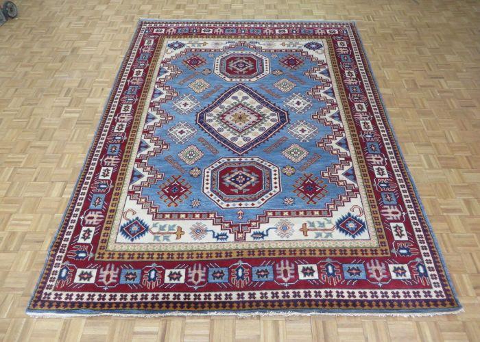 Hand knotted light blue kazak with wool oriental rug    also kak