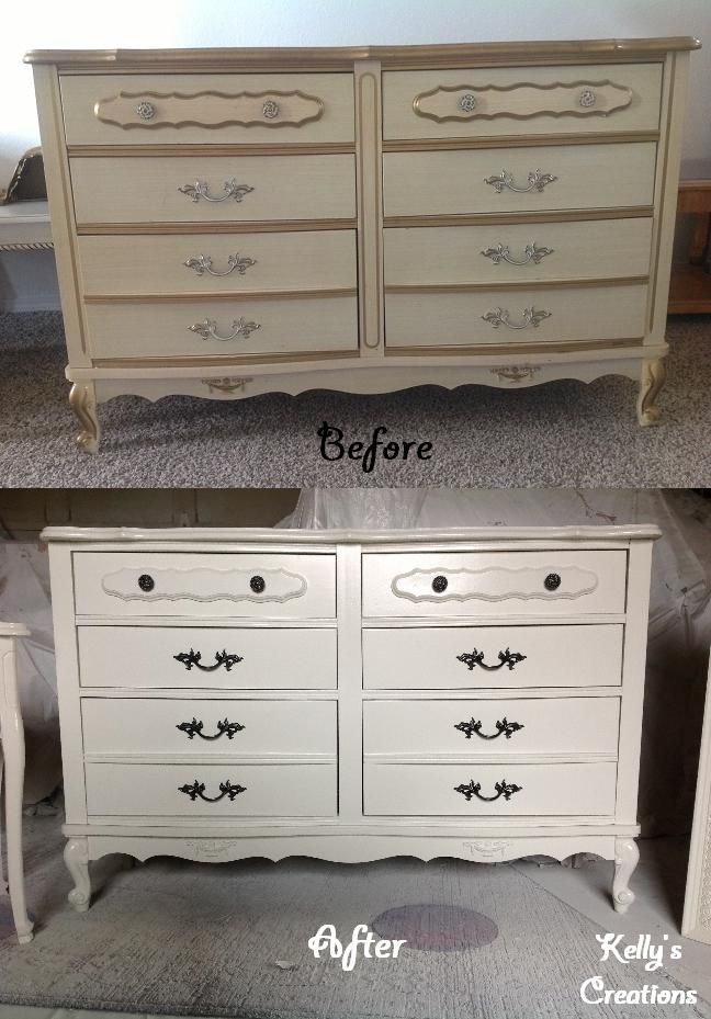White French Provincial dresser with black drawer handles before and after pictures Refinished