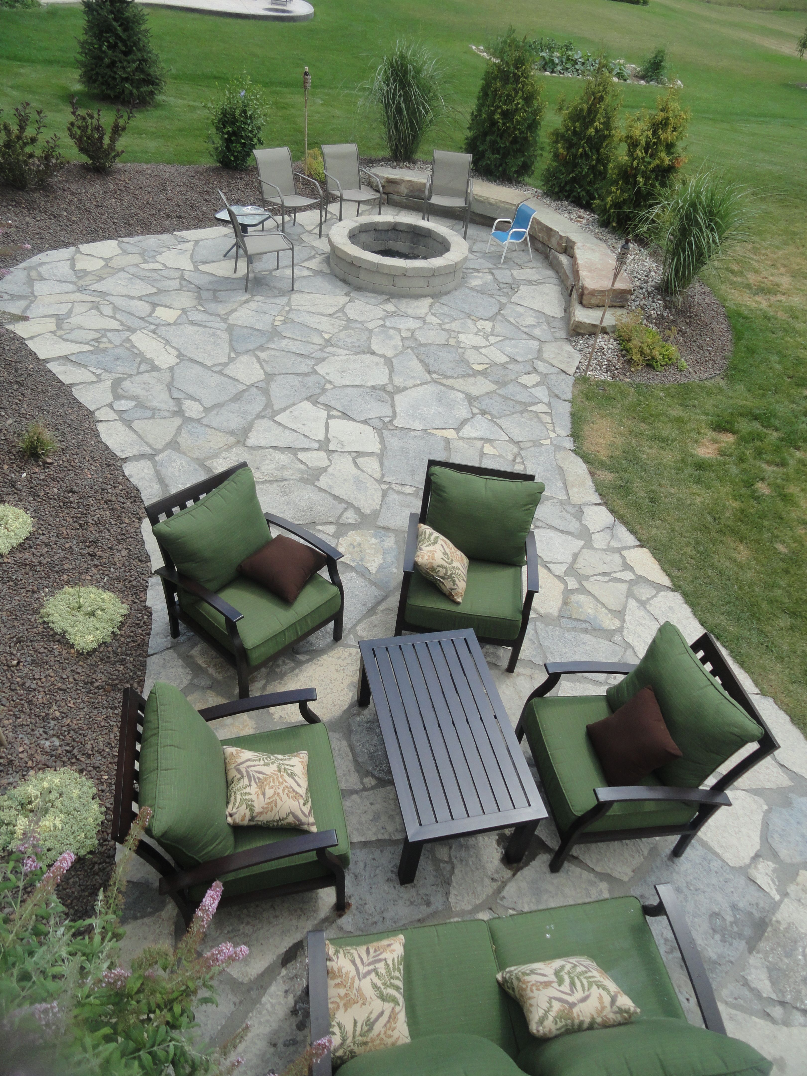 New York blue Irregular flagstone patio.  Design and Creation by Frank Spiker and All Natural Landscapes.