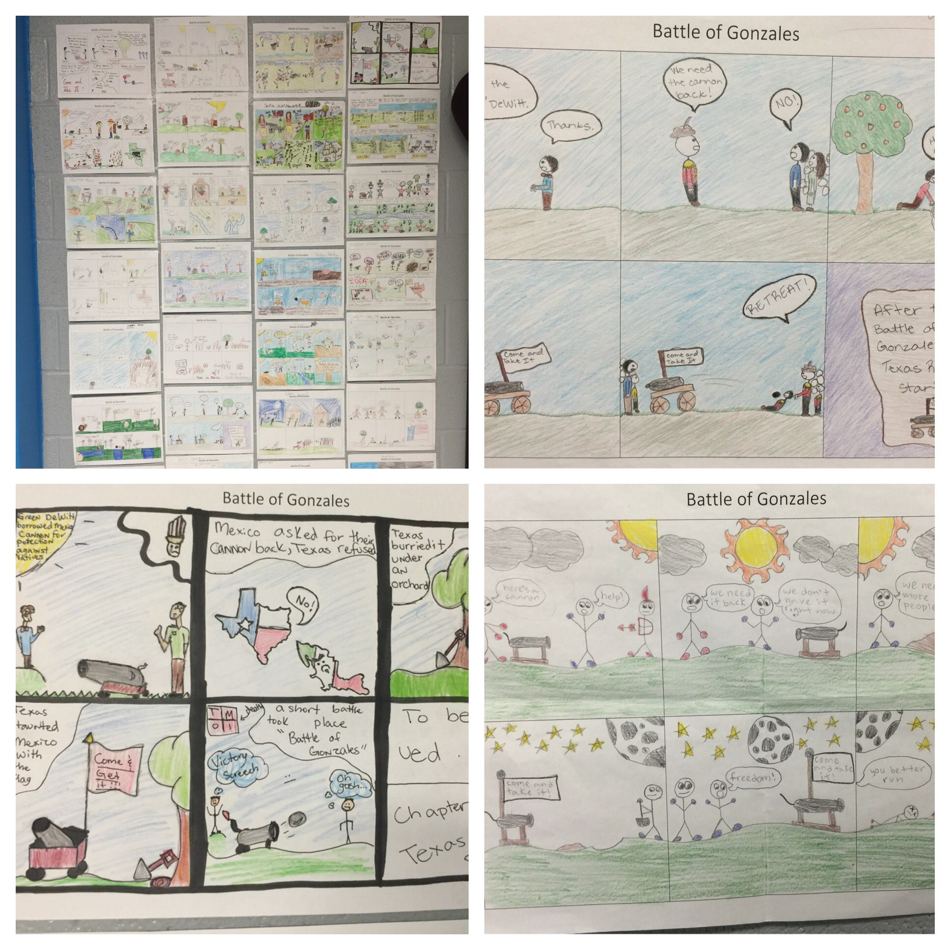Battle Of Gonzales Cartoon Strip Students Research The