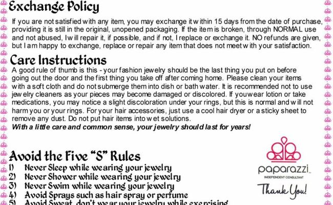 Paparazzi Accessories Exchange Policy And Care
