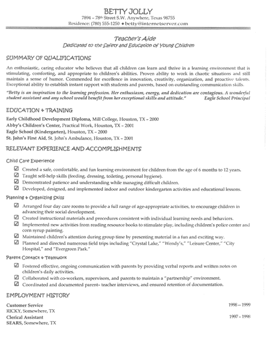 Teacher Aide Resume Examples Examples Of Resumes