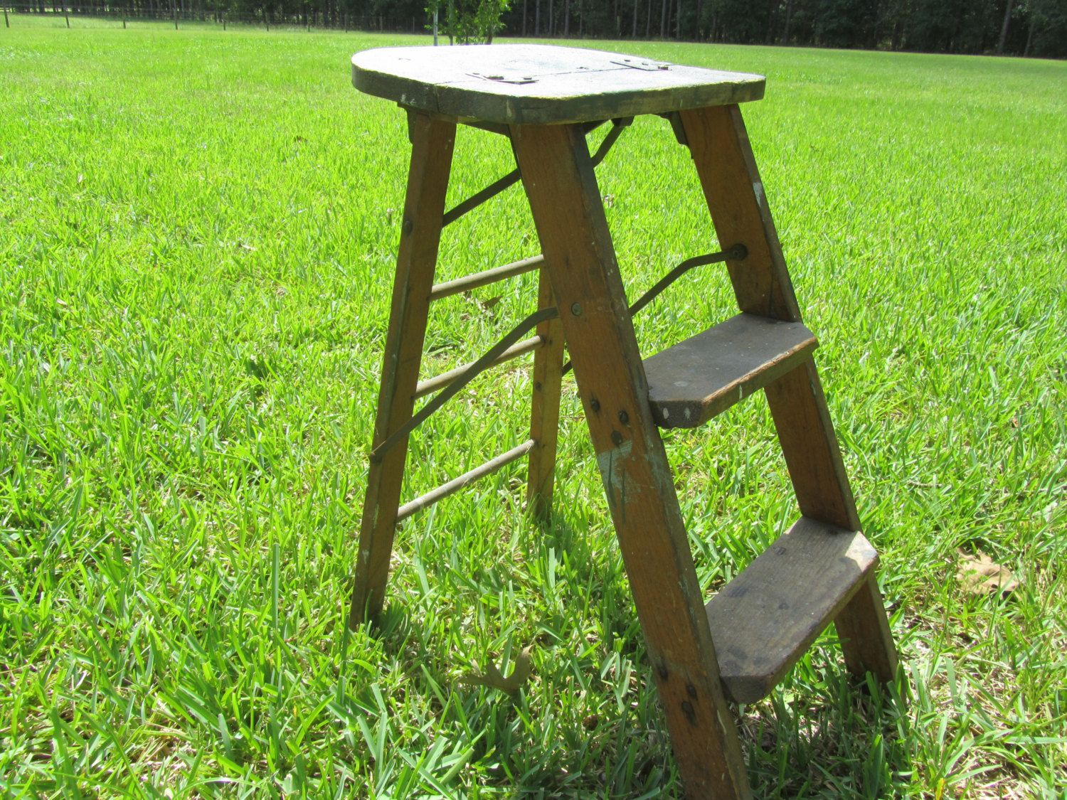 wooden kitchen stools beige tiles vintage wood step ladder small stool