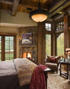 Timber house bedroom in mountain country with rustic fireplace and plenty of glass to take also rh pinterest