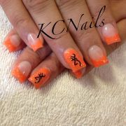 orange acrylic nails with browning