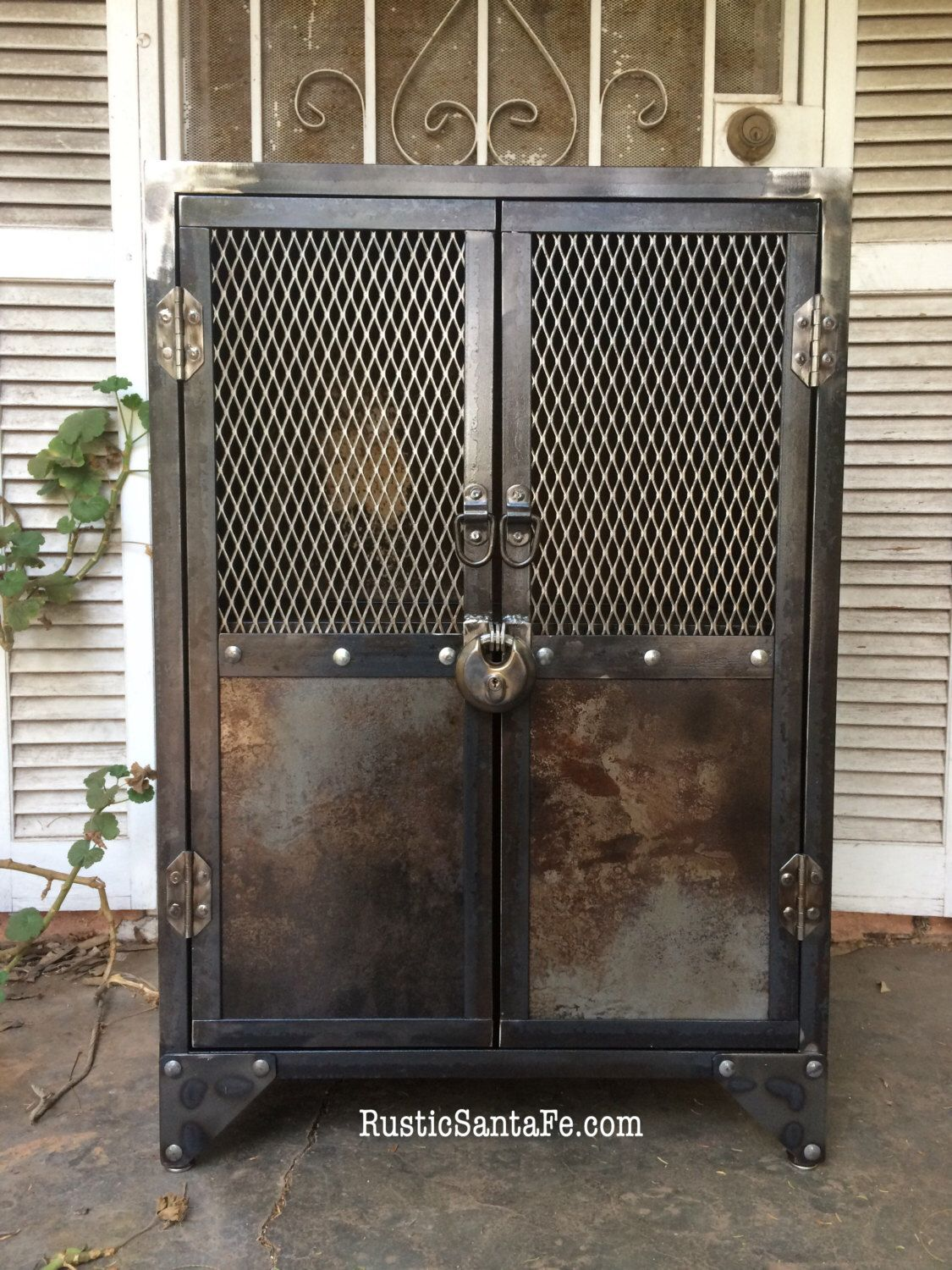 Industrial Steel Locking Liquor Cabinet Industrial