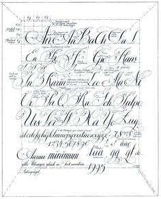 Copperplate Worksheet Vintage script alphabet ~ script