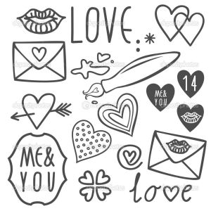 doodles simple valentines easy hand drawings doodle drawn drawing gray isolated background draw illustration vector sketches valentine google patterns crafts