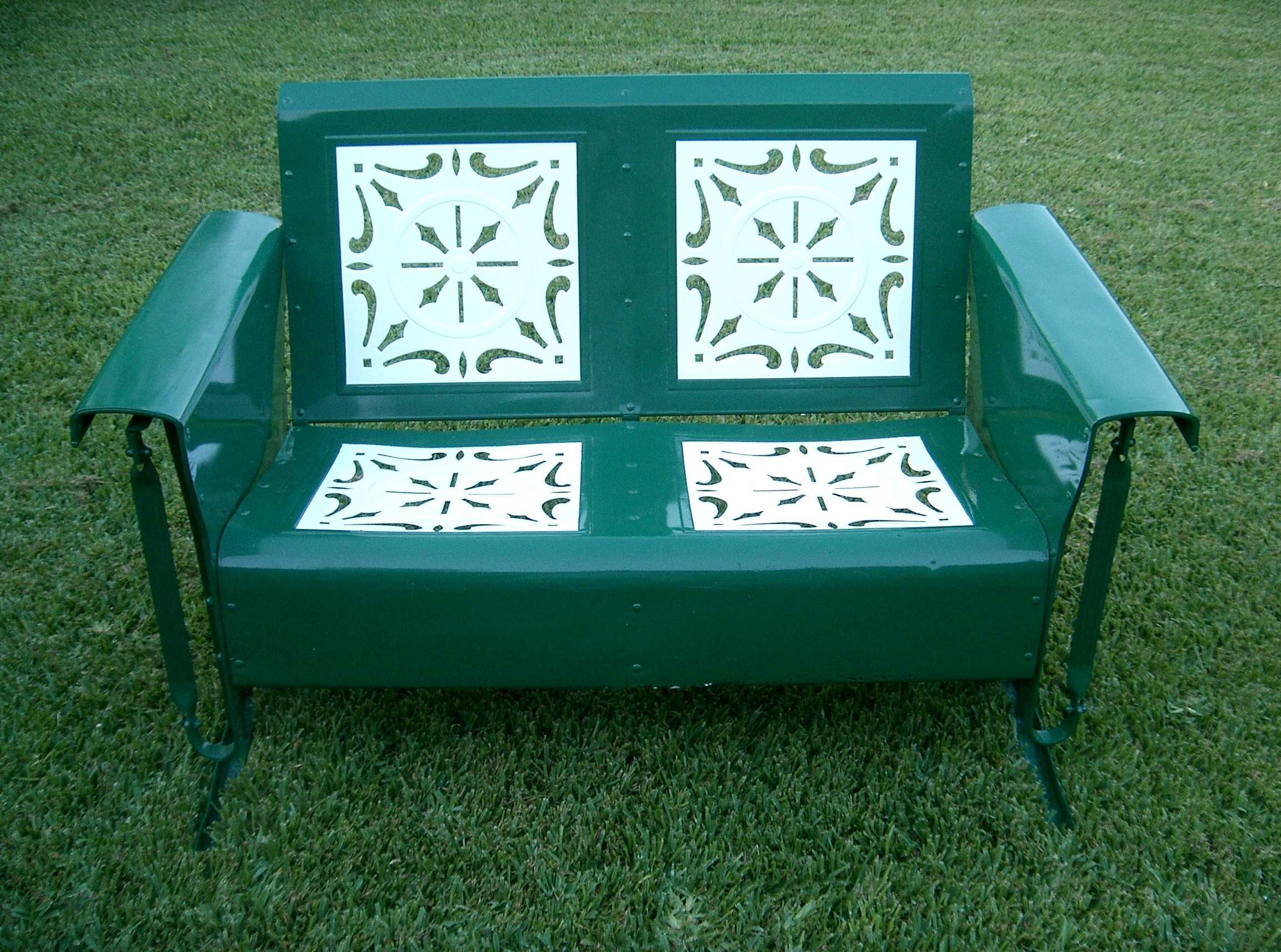 metal glider sofa victorian style grass green and white old paint shabby chic loveseat