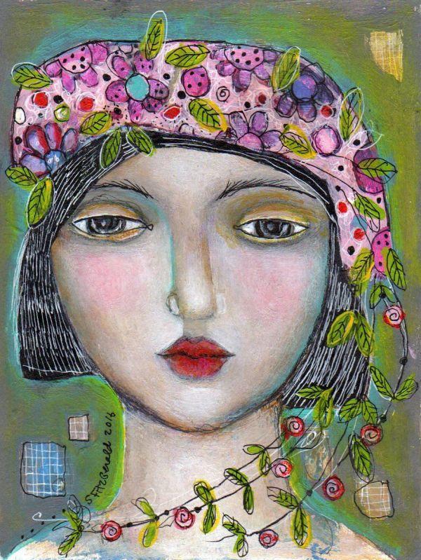 Painting Mixed Media 6x8 Paper Face Woman Flowers Summer Hat Sandi Fitzgerald. Aka