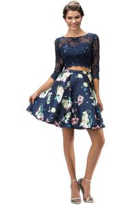 Short Two Piece Cocktail Prom Dress Floral Print Long ...
