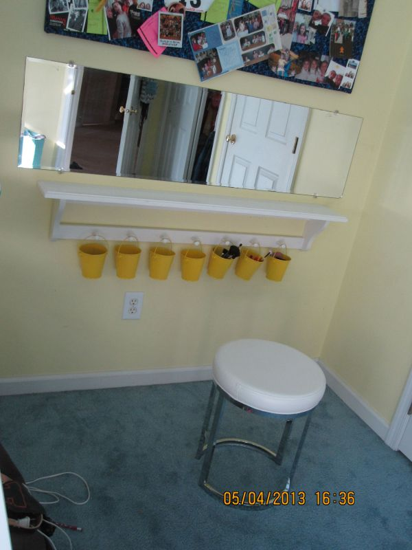 Diy Vanity Makeup Table Of Shelf And Mirror. Lot