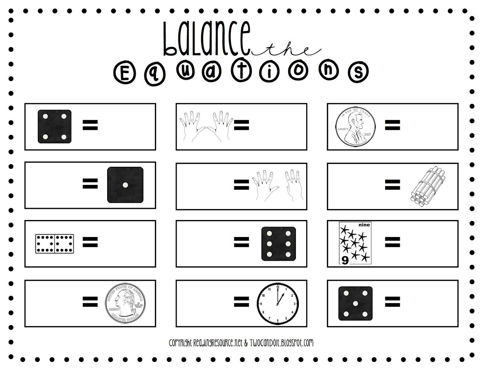 Two Can Do It Balanced Equations Worksheet School Stuff