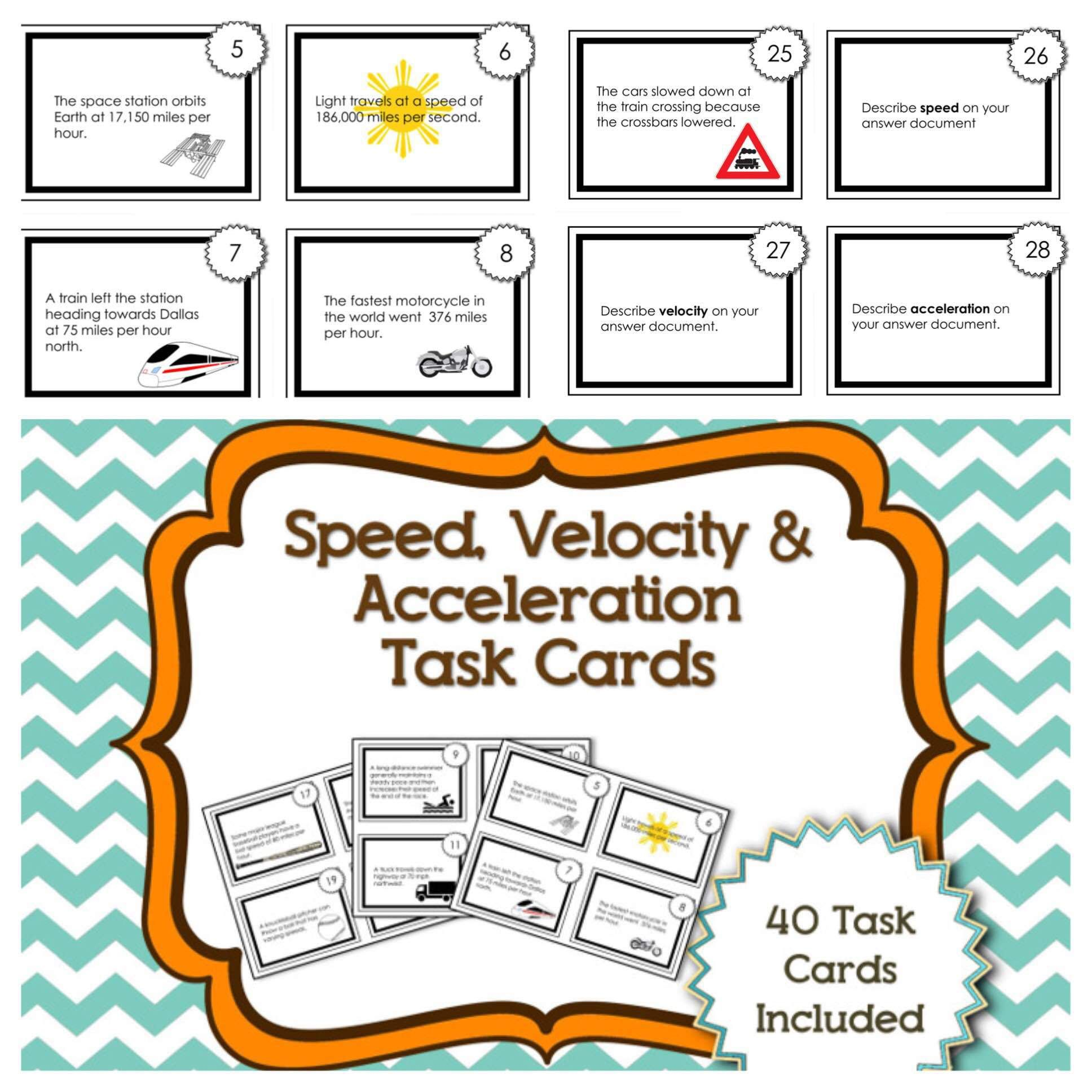 Speed Velocity And Acceleration Task Cards