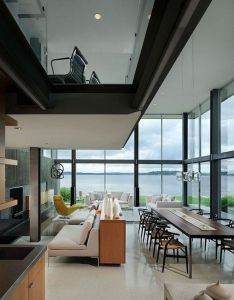 Openness in this home creates  lot of visual interest great use concrete also rh pinterest