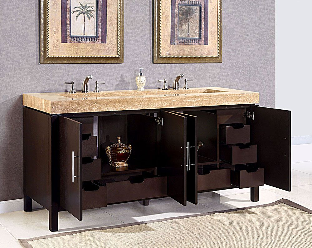 Modern Double Ramp Sink Bathroom Vanity