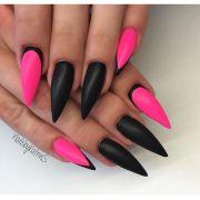 neon pink black stiletto nail