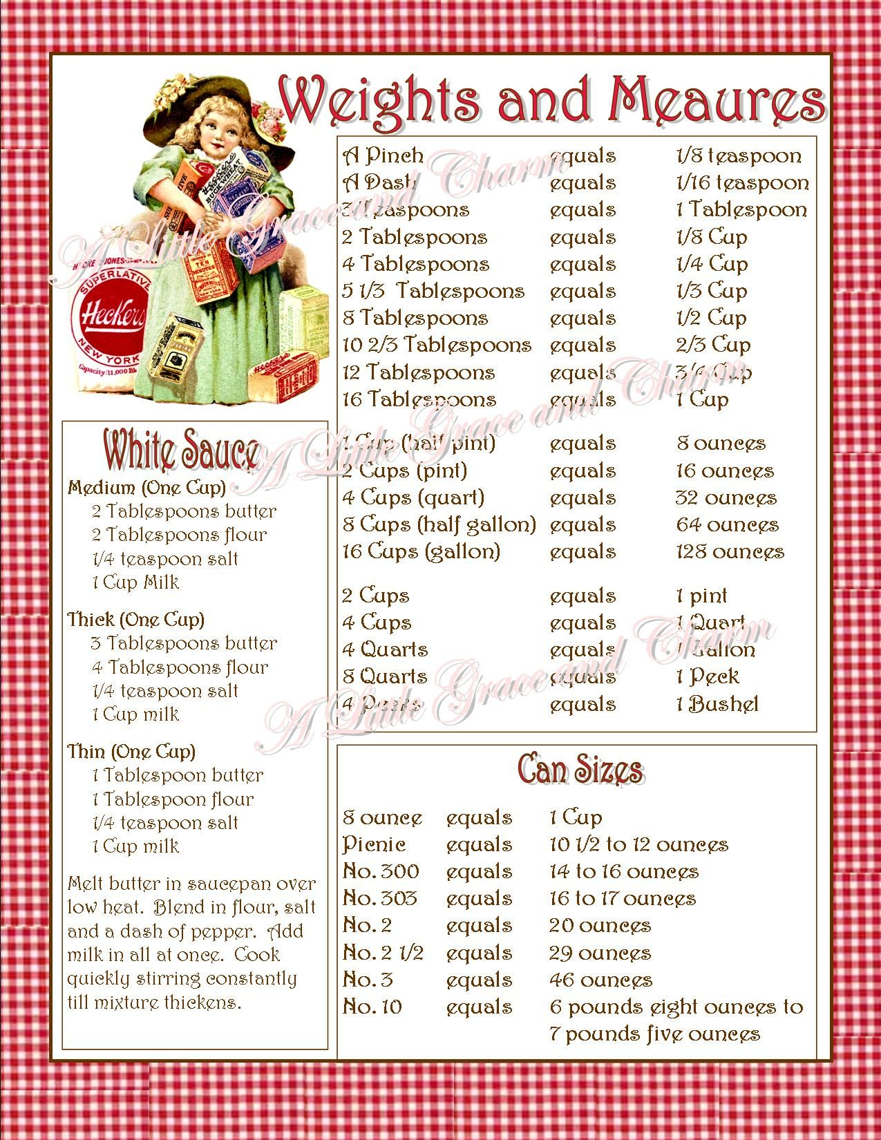 Weights And Measures Chart For Inside The Kitchen Cabinet