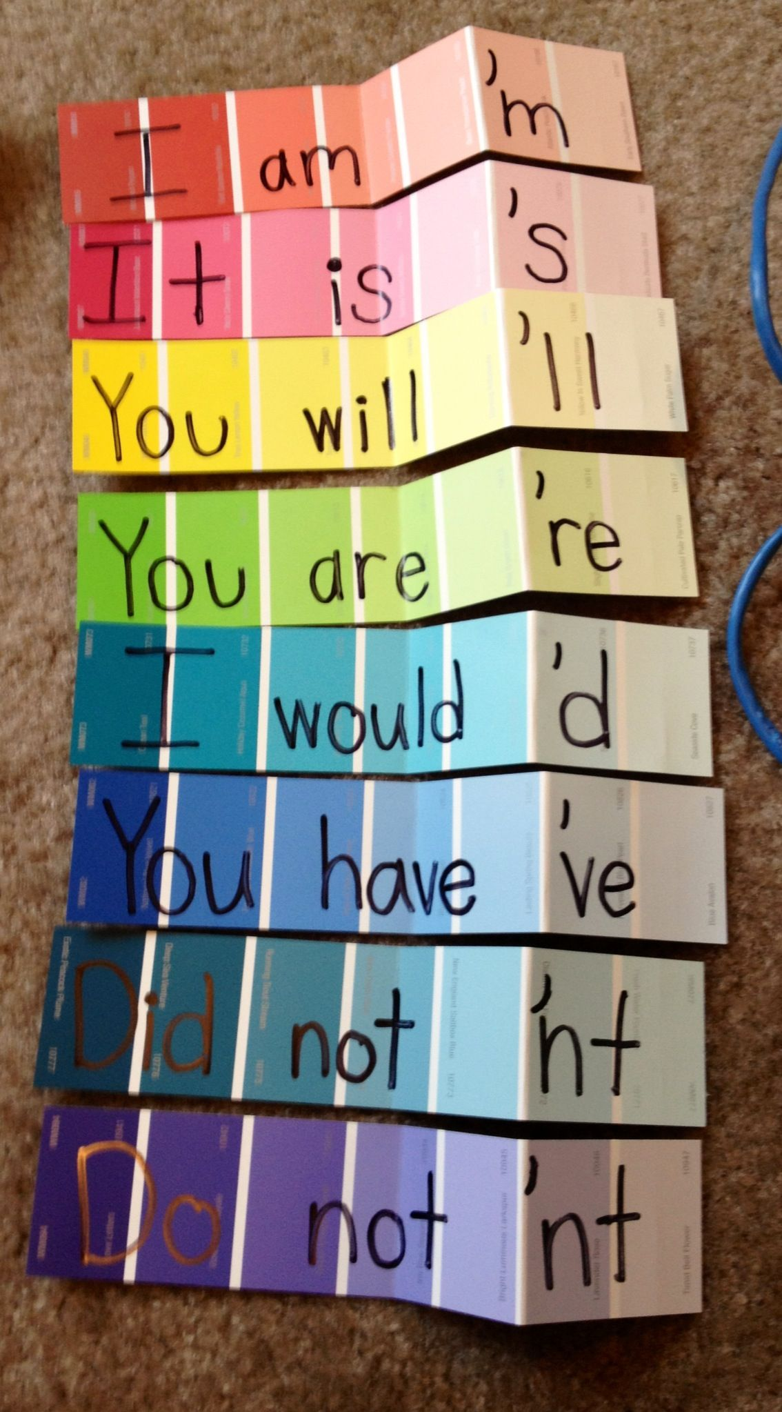 Paint Strips To Teach Contractions