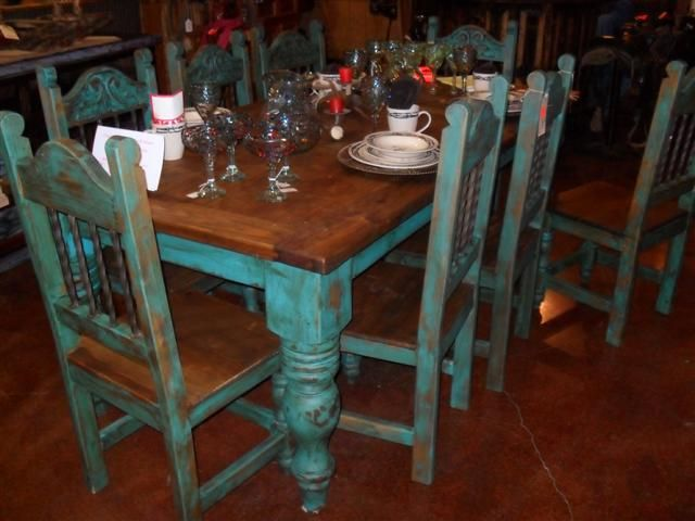 Table With Turquoise Chairs Furniture Pinterest