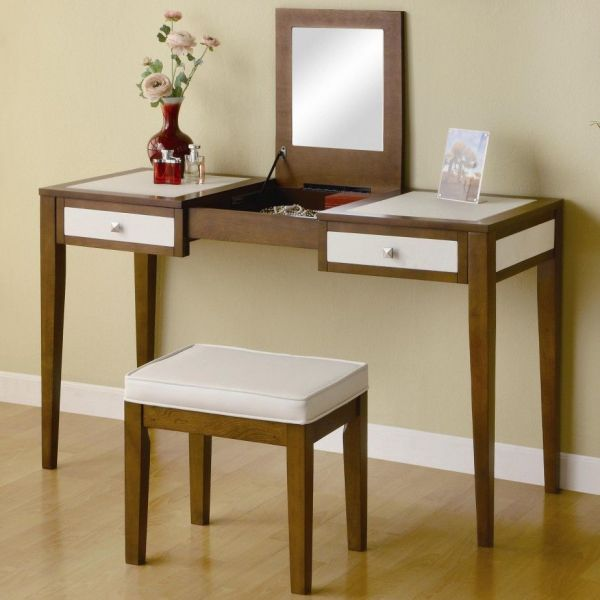 Furniture. Modern Makeup Vanity Stools And Table With Lift