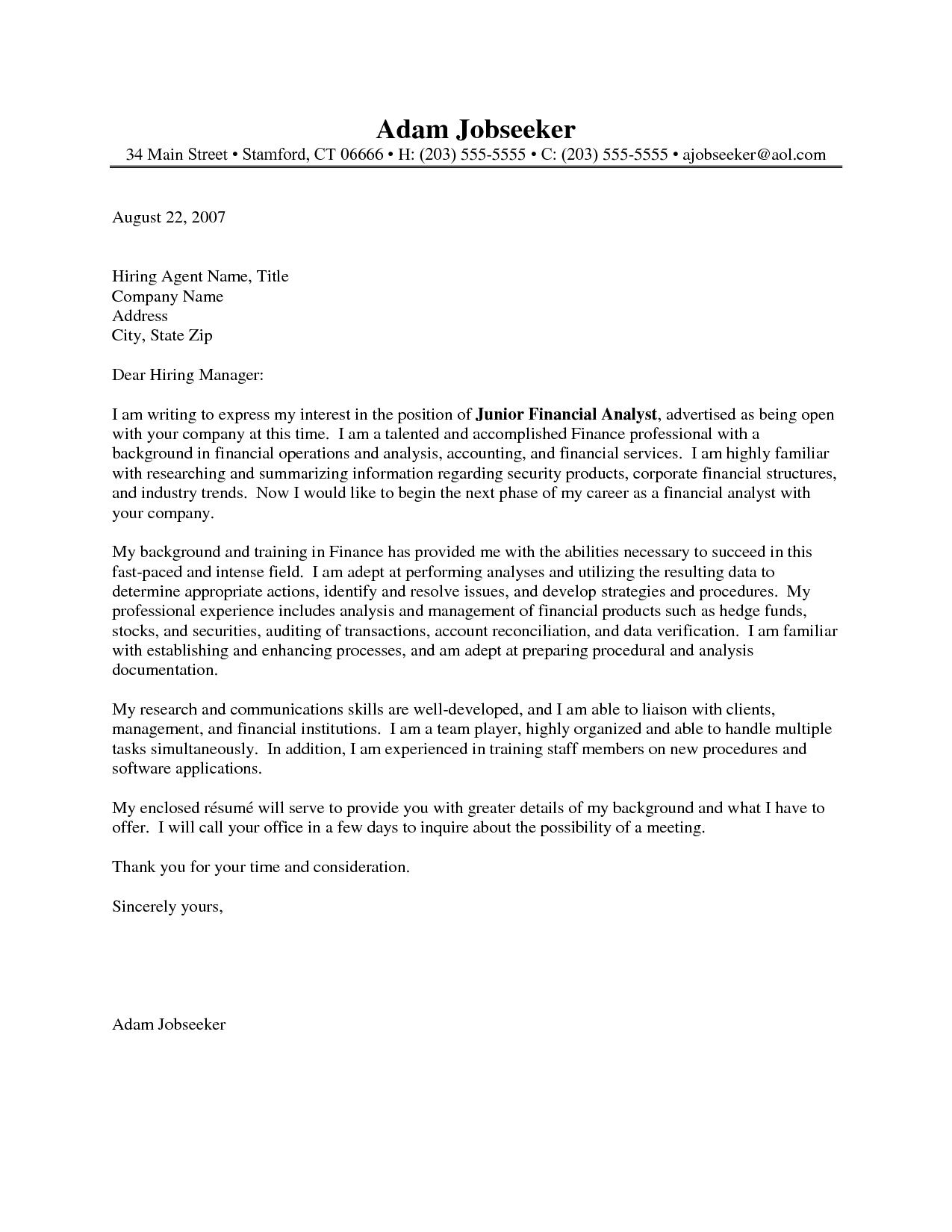 Financial Analyst Cover Letter Example  Financial Analyst Cover Letter Example we provide as
