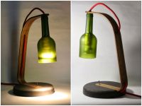 Upcycled Wine Bottle Desk Lamp | Desk lamp, Red fabric and ...