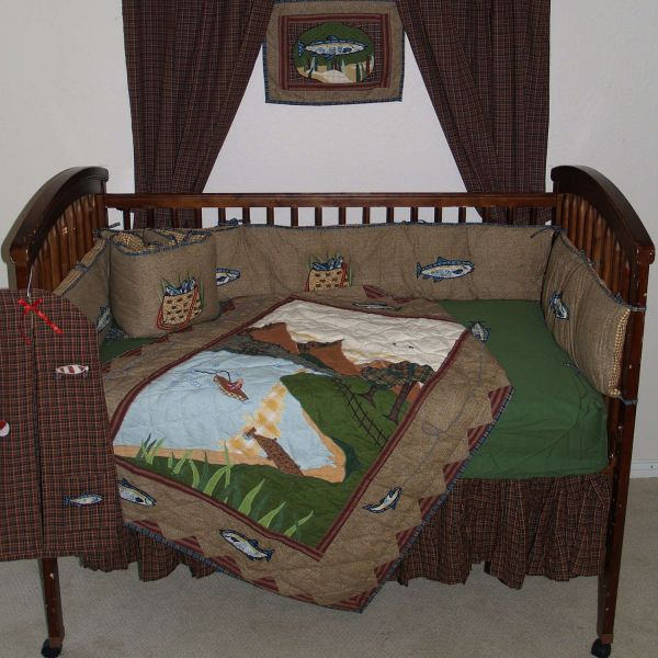 Fishing Brown And Green Country Fish 6 Piece Crib