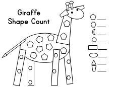 Animal Shape Count (giraffe, elephant, ostrich, hippo