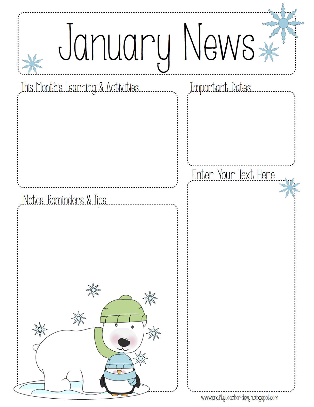 The Crafty Teacher: January Newsletter for ALL Grades