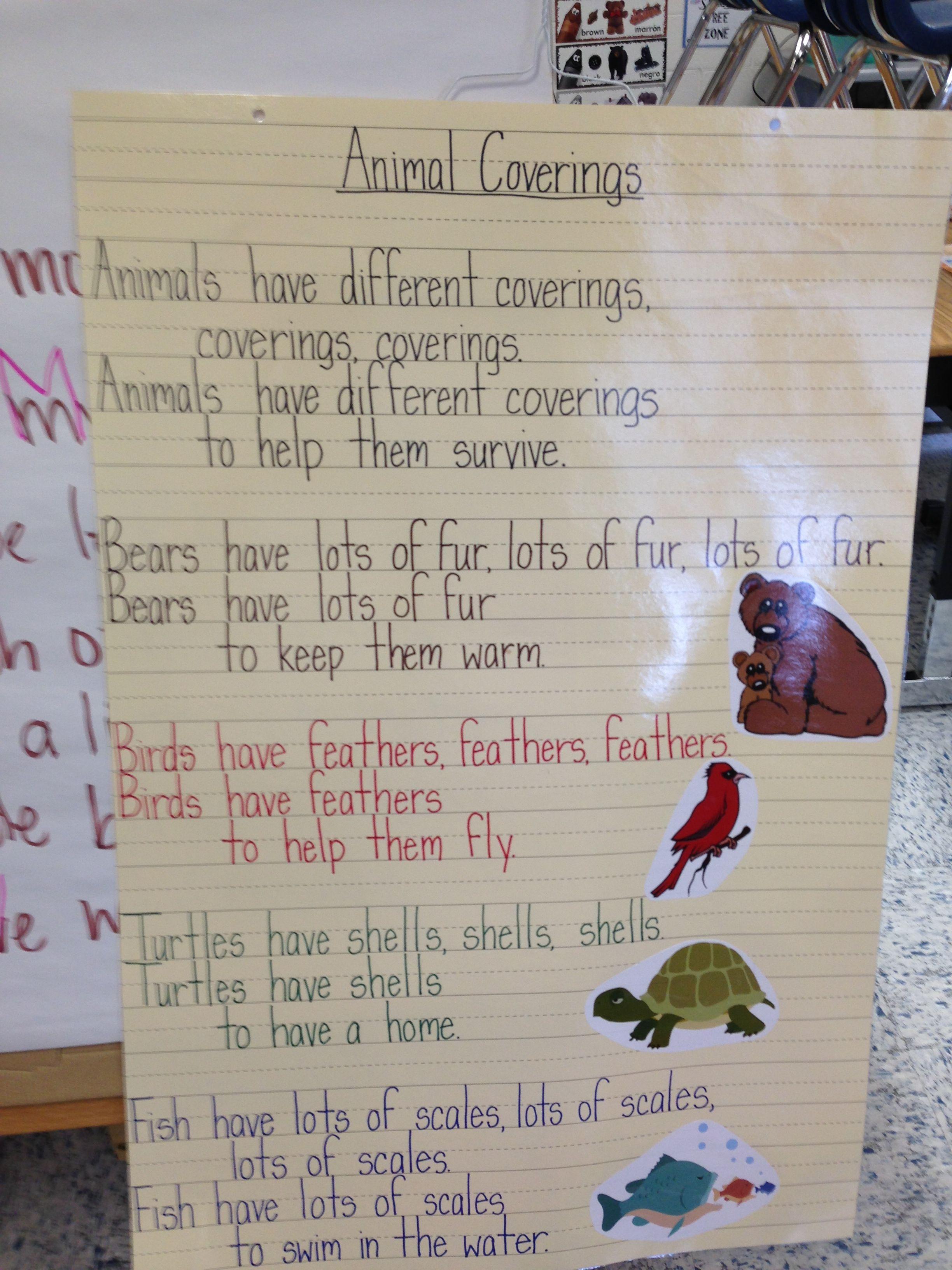 Animal Coverings Poem Science