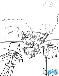 Fight all the Mobs coloring page on Minecraft video game ...