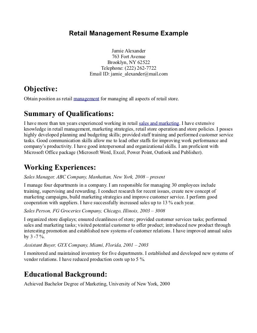 resume examples for retail store manager resume objective - Retail Store Manager Resume Examples