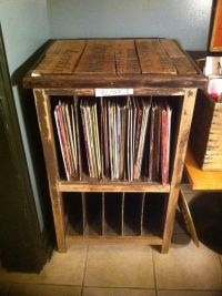 Record player stand and vinyl storage cabinet. Vintage ...